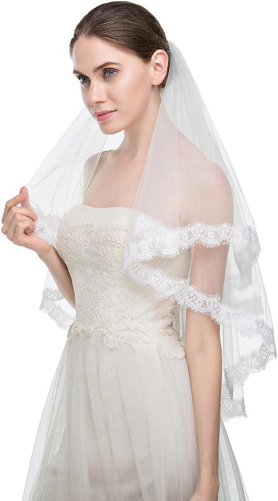 Edith qi 1 Livello delle dita del bordo del merletto di Tulle Bridal Veil sposa con il pettine
