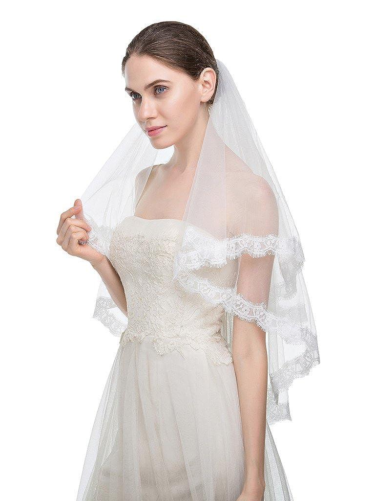 Edith qi 2 Schicht Elegante Fingerspitzenspitze Rand Hochzeit Brautschleier mit Kamm UEDQ148-Ivory