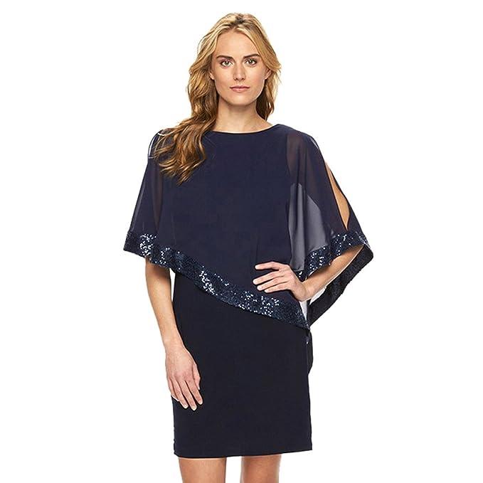 Damen Kleider Kolylong® Frauen Elegant Pailletten Chiffon Kleid ...