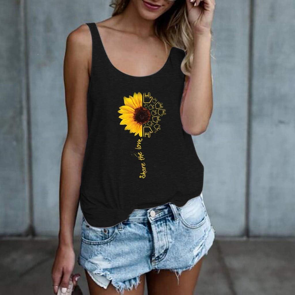 WUAI-Women Tank Top Summer Sleeveless Vest Tops,Casual Sunflower Printed Floral Undershirt Blouse