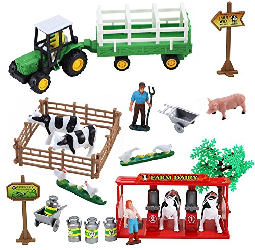 Liberty Imports Farming Fun Playset with Tractor (Dairy)