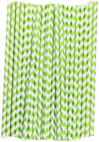 Chevron Paper Straws (Lime Green and White, 25)