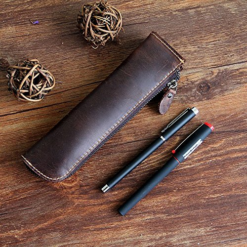 - XIDUOBAO Retro Genuine Leather Pencil Pouch Handmade Pencil bag Vintage Genuine Leather Pencil Pen Case Pouch Holder Bag Pencil cases. (02)