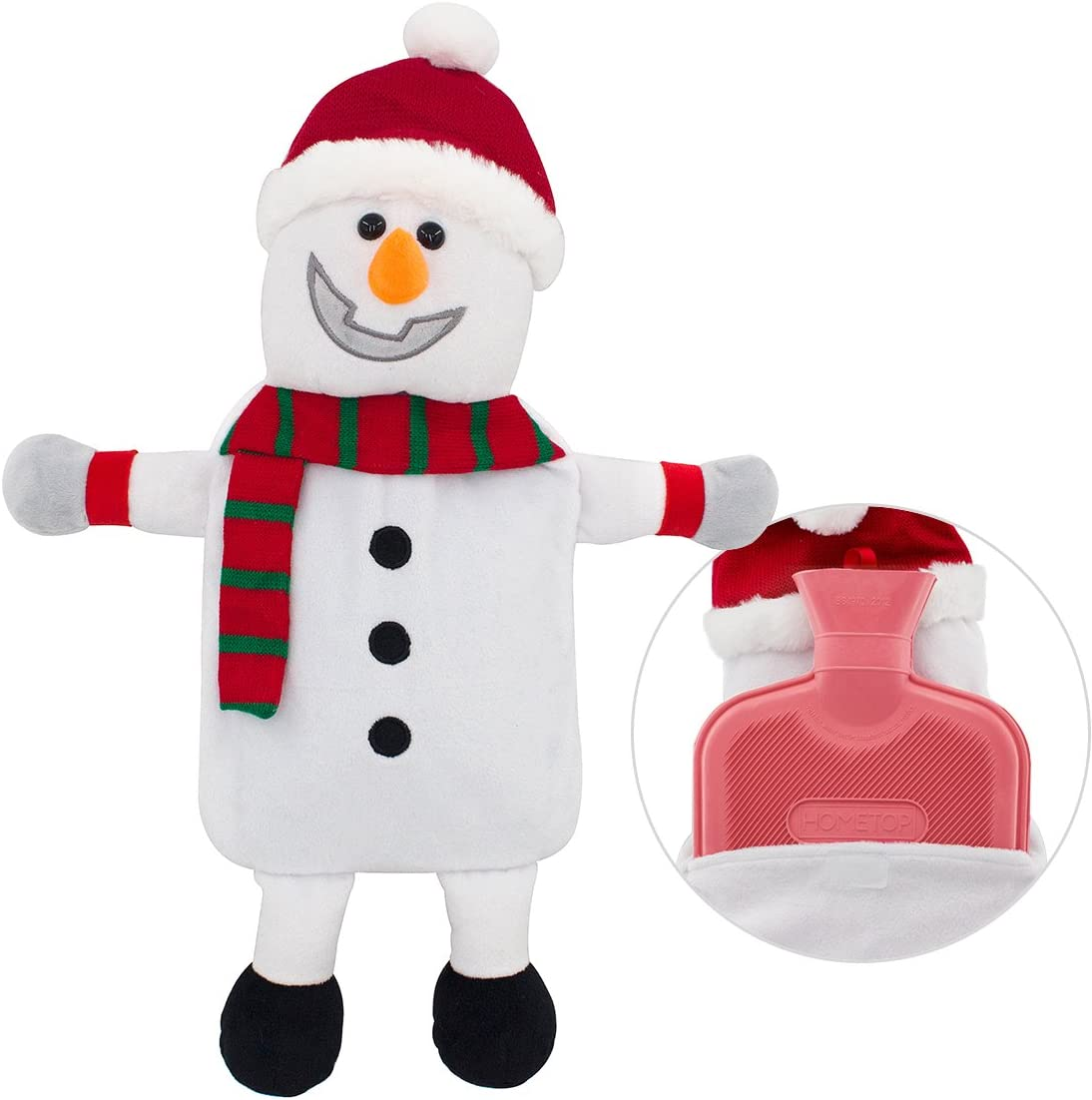 HomeTop Premium Classic Rubber Hot Water Bottle with Cute 3D Animal Cover (2L, Smiley Snowman)