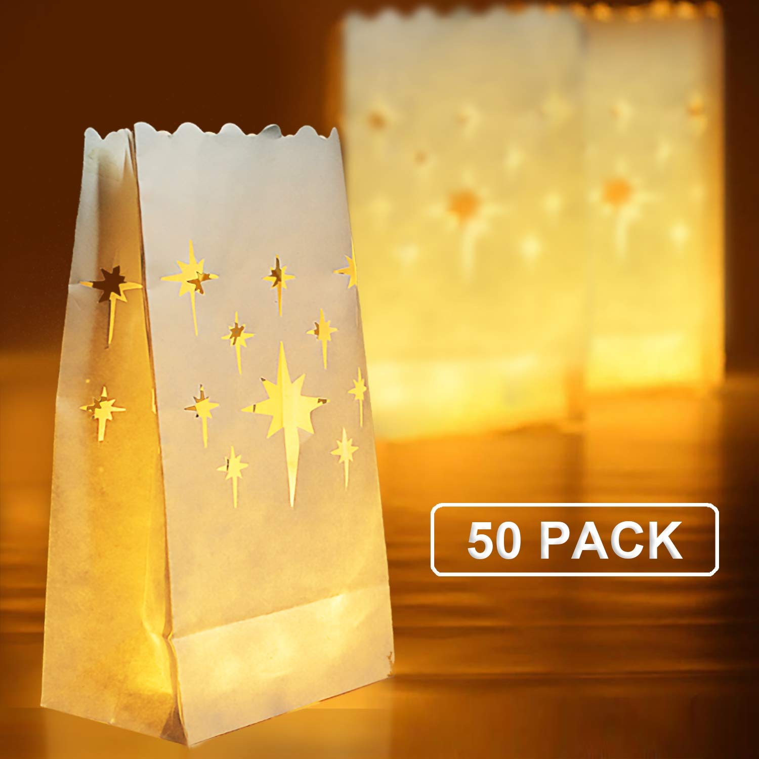 Homemory 50 PCS White Luminary Bags, Flame Resistant Candle Bags, Stars Design Luminaries for Wedding, Halloween, Birthday, Party by Homemory
