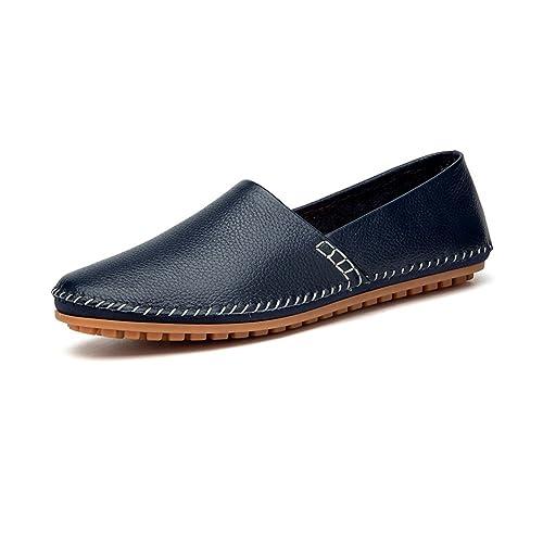 NXY Mocasines de Cuero Ocasionales de los Hombres Deslizamiento Plano de la Moda en los Zapatos de conducción del Barco Zapatillas: Amazon.es: Zapatos y ...