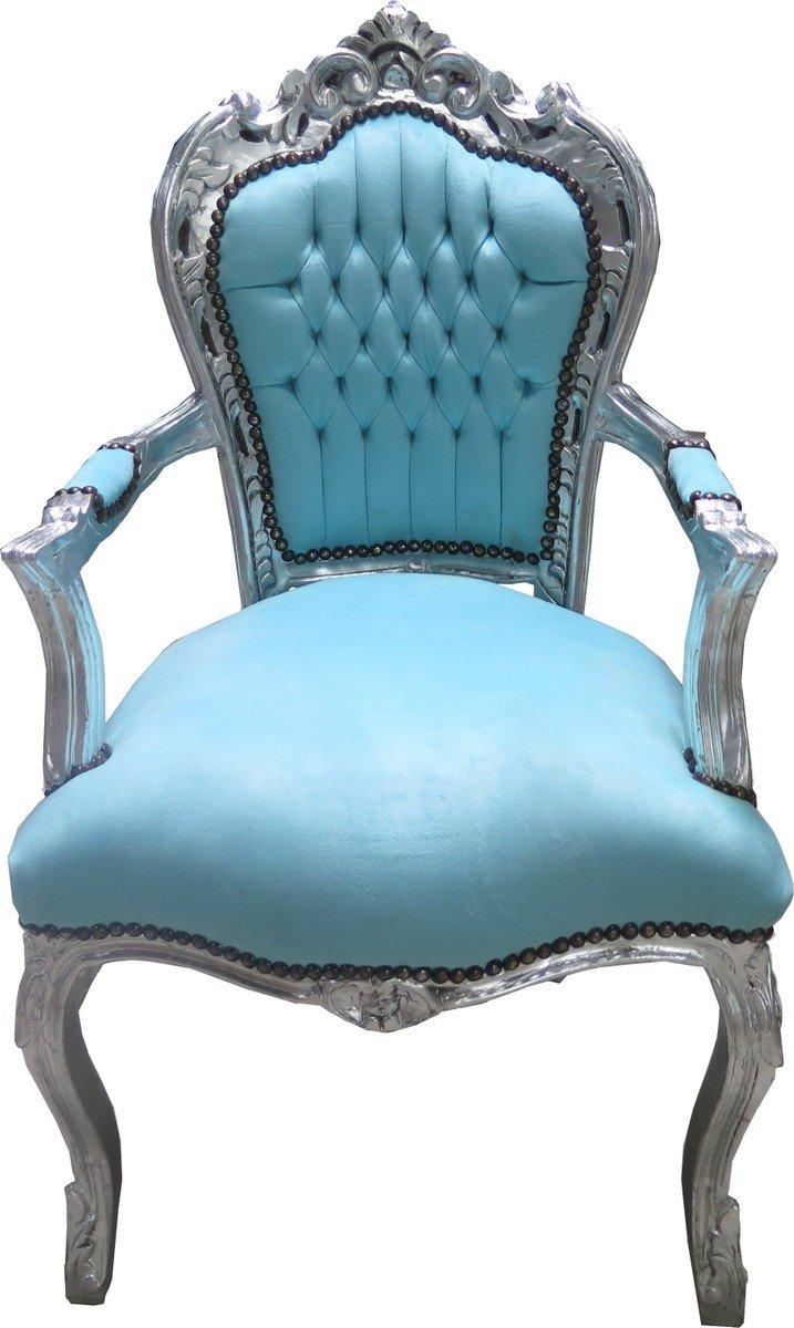 Casa Padrino Barock Esszimmer Stuhl mit Armlehnen Türkis Türkis Türkis Silber - Möbel Antik Stil 7f1887