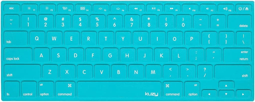 Kuzy - MacBook Keyboard Cover for Older Version MacBook Pro 13 15 17 inch and MacBook Air 13 inch, iMac Wireless Keyboard, Apple Computer Accessories Key Board Silicone Skin Protector - Solid Hot Teal