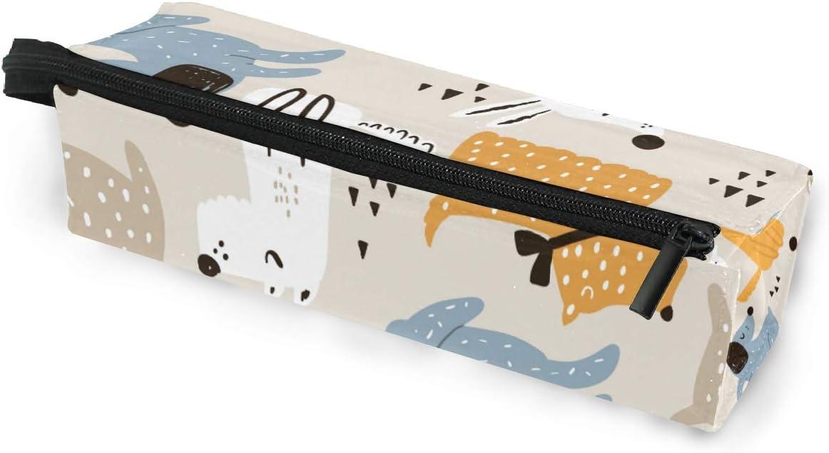 Estuche portátil para gafas de sol con cremallera, diseño de perros, color azul, blanco y amarillo, bolsa de almacenamiento: Amazon.es: Oficina y papelería