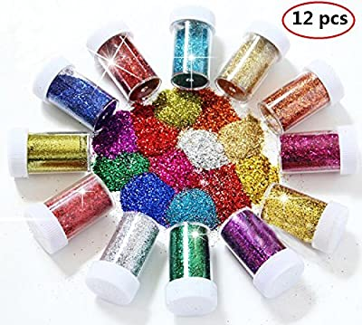 BTSD-home Glitter Powder Shakers, Extra Fine Glitter Set, Art and Crafts Supplies Loose Cosmetic Glitter, Great for Slime, Scrapbooking, Face, Body, Nail Art, Holiday Crafts, Assorted Colors