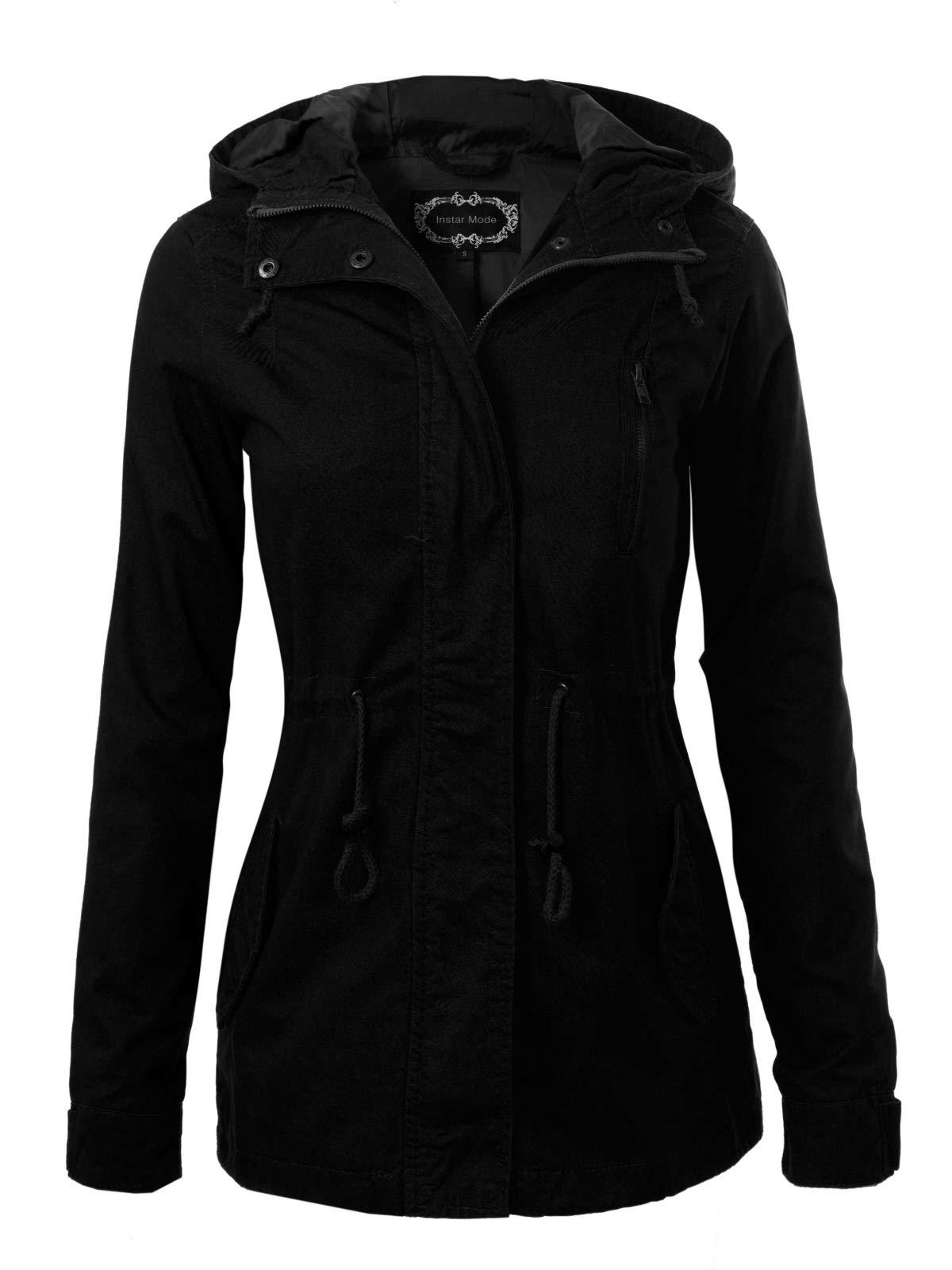 Instar Mode Women's Military Anorak Safari Hoodie Jacket Black 2XL by Design by Olivia