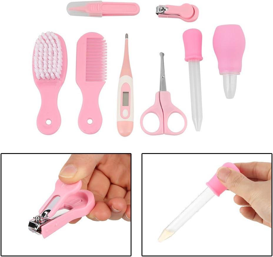 GLOGLOW 8pcs Baby-Manik/üre-Installationssatz bequemes t/ägliches Baby Haarb/ürste Kamm Nagelschere Nagelknipser Manik/üre Baby Pflegen Sorgfalt Installationssatz Pink