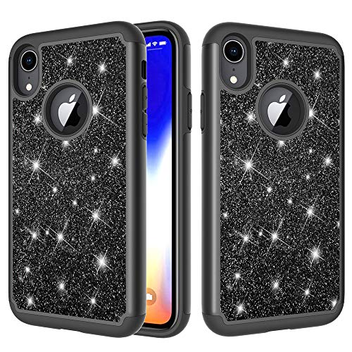 "Price comparison product image iPhone Xr Case,  Futanwei Luxury Bling Glitter Sparkle Case for Girls Full-Body Protection [Silicone+Hard PC Back] 2in1 Hybrid Dual Layer Heavy-Duty Shockproof Non-Slip Cover for iPhone Xr 6.1"" Black"