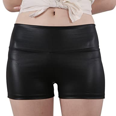 JNTworld women Sexy Faux Leather High Waist Shorts Sateen Skinny ...