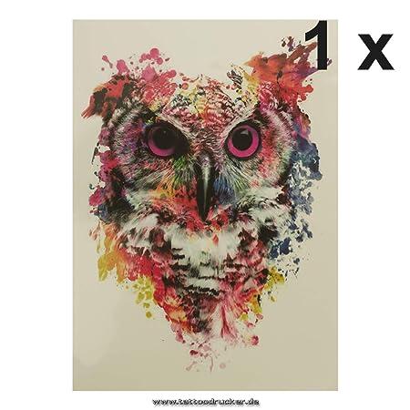 KM014 - Tatuaje Temporal, diseño de búho, carbón, 1 x Eulen Tattoo ...