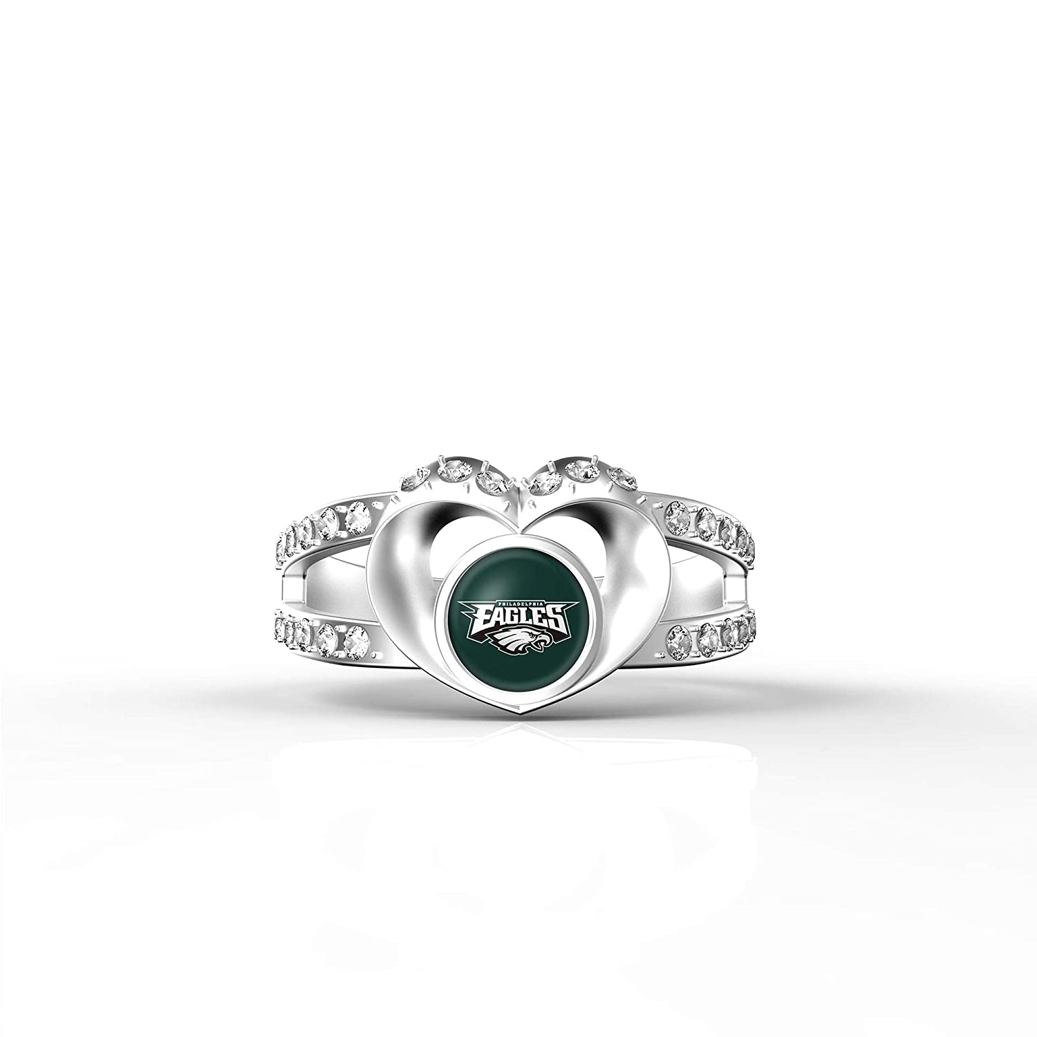 MT Sports store NFL Heart Shaped Lady Ring Lady Exquisite Heart Shaped Ring Philadelphia Eagles