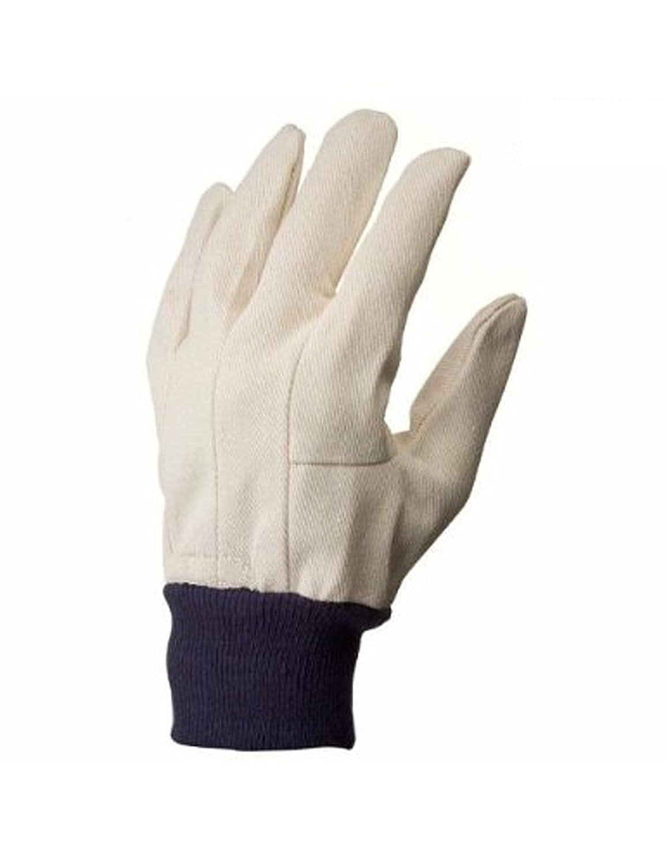 G & F 7407L-12 Men's Glove Cotton Canvas Work Gloves, Sold by Dozen, Large, White
