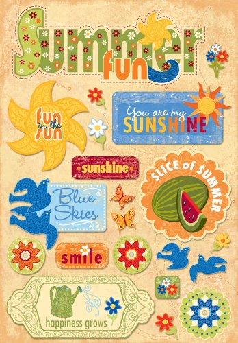 KAREN FOSTER Design Acid and Lignin Free Scrapbooking Sticker Sheet, Summer Fun