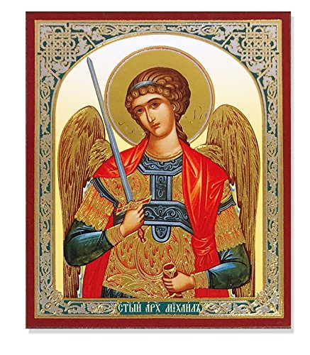 - Religious Gifts Saint St Michael With Sword Russian Wooden Icon Gold Foiled 3 Inch