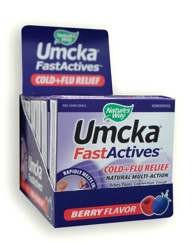 Nature's Way Umcka® FastActives® Cold + Flu Relief Multi-Action Formula Berry Flavored Powder Packets; Display Pack 6 Boxes of 10 packets each by Nature's Way