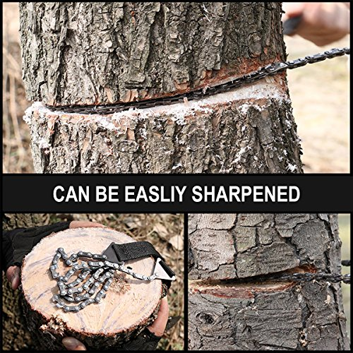 Survival Pocket Chain Saw Chainsaw 24 Inches Portable Hand Saw For Camping Hiking Backpacking Hunting Boy scouts Emergency Gear Backyard Cleanup Pruning + Compass Fire Starter!