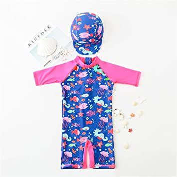 Kids Swimwear Girls Swimsuits Anti-UV Sun Safe Swimming Beach Costume Child  All-in-One Sun Protection Sunsuit with Swimming Cap  Amazon.co.uk  Baby 5ce9ba0d6e46
