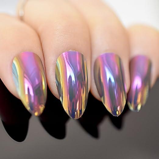 EchiQ Stilettos - Espejo de uñas postizas metálico con diseño de camaleón cromado, color rosa y dorado: Amazon.es: Belleza