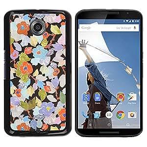 TopCaseStore / la caja del caucho duro de la cubierta de protección de la piel - Rustic Wallpaper Floral Art - Motorola NEXUS 6 / X / Moto X Pro
