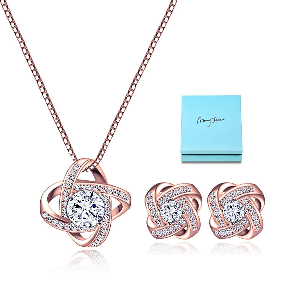Crystal Jewelry Set for Women - Elegant Rose Gold Jewelry Set for Wedding Bridal Crystal Cubic Zirconia Love Knot Pendant Necklace Earrings for Party Prom Valentine's Day Fashion Jewelry Gift Set