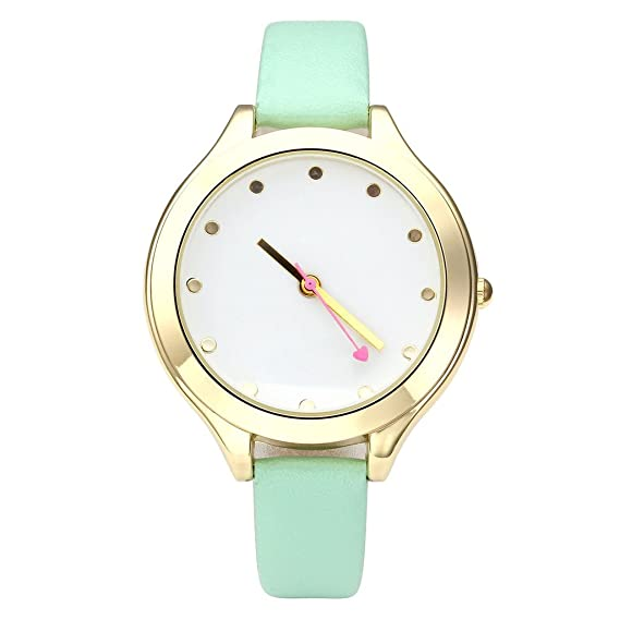 JSDDE Fasion Womens simple muñeca cuarzo reloj con redondo Dot Golden funda de piel rosa con forma de corazón de segunda mano fraux pequeña banda, ...