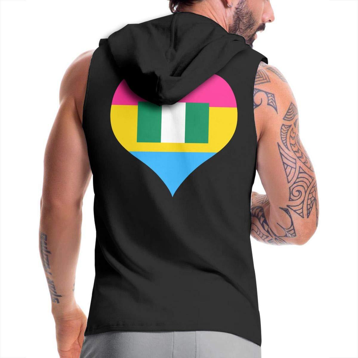 BMWEITIHBQ Mens Sleeveless Sweatshirt Pansexual Heart Nigerian Flag Zipper Tank Tops
