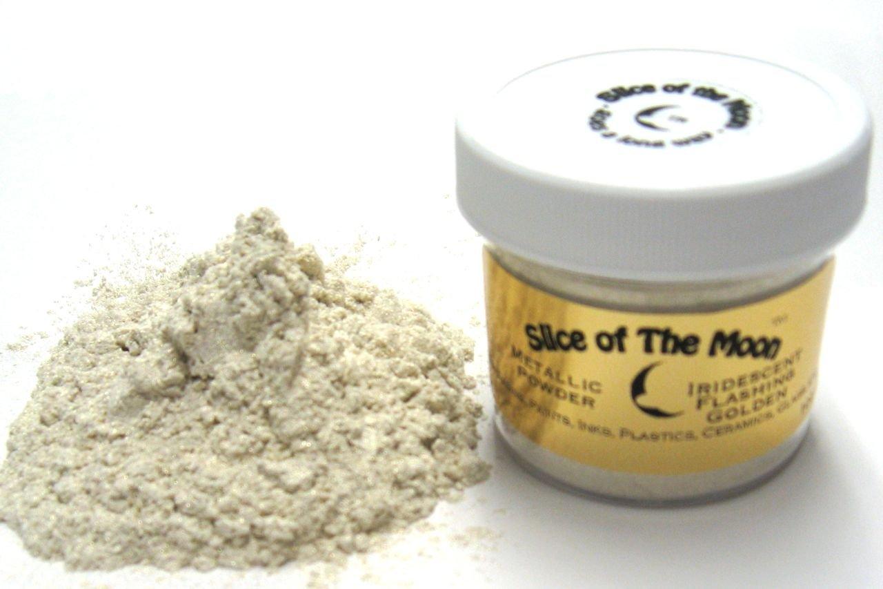 Iridescent Gold Mica Powder 1oz, Cream Gold Iridescencent Powder, Cosmetic Mica, Slice of the Moon