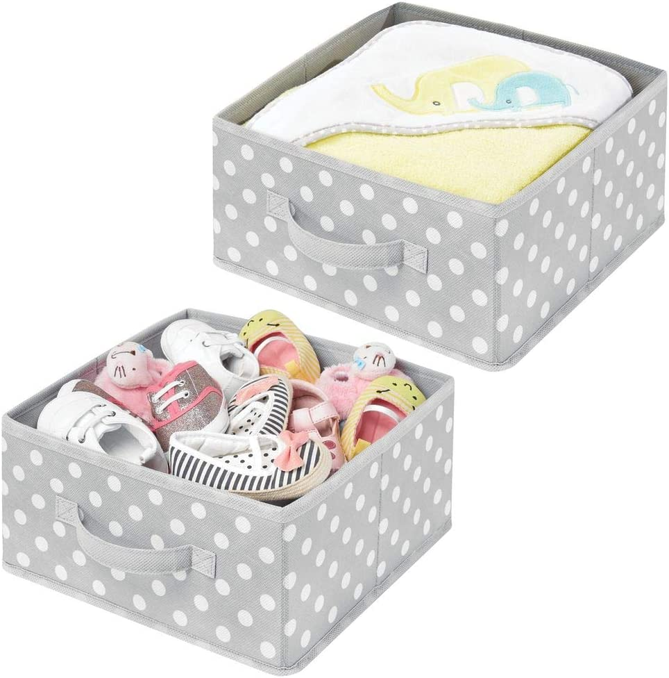 mDesign Soft Fabric Modular Closet Organizer Box, Handle for Cube Storage Units in Closet, Bedroom, Bathroom - Holds Clothing, T Shirts, Leggings, Accessories - Polka Dot Print, 2 Pack - Gray/White