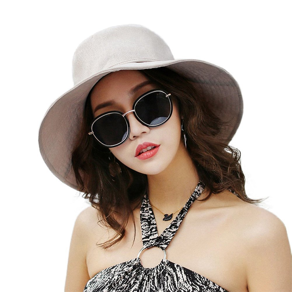 E.Joy Online Women Summer Wide Brim Beach Hat with Wire Brim and Chin Cord Roll up Beige