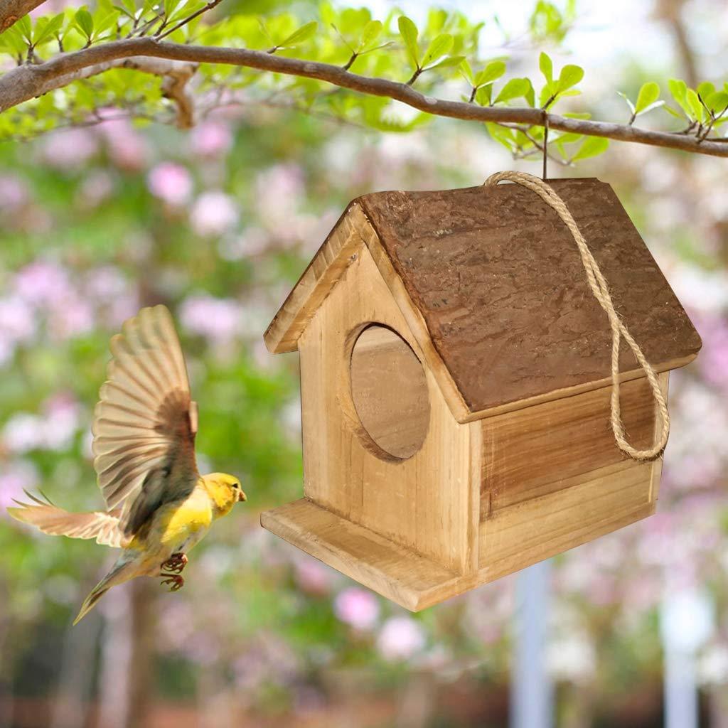 Nido de p/ájaro creativo para casa de corteza de /árboles nidos de reproducci/ón de p/ájaros Brucelin decoraci/ón de madera verde