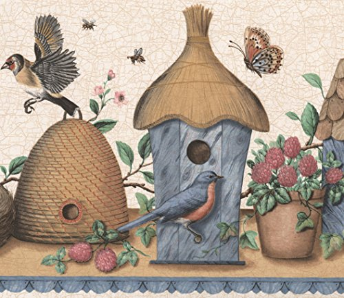 Vintage Birdhouses Nests Blue Red Brown Birds Beige Brown Wide Wallpaper Border Retro Design, Roll 15' x 9.25'' ()