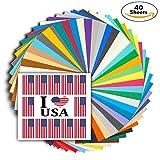 Art-In-Shock 40 Vinyl Sheets Premium Permanent Self Adhesive Set | 12
