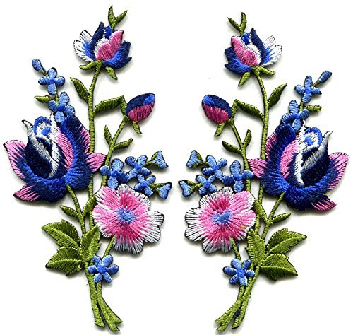 - Pink blue roses pair flowers floral bouquet boho embroidered appliques iron-ons patches new