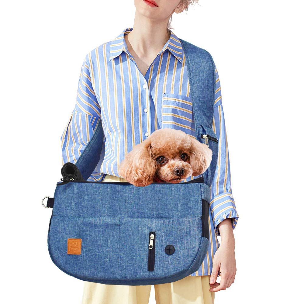 Purrpy Pet Sling Carrier for Small Dogs and Cats Hands Free Shoulder Bag Adjustable, with Built-in Poop Bag Dispenser and Phone Pouch Blue by Purrpy