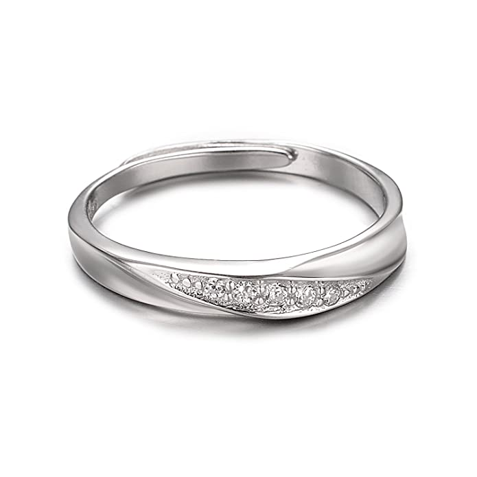 dd6af1c2d7 Amazon.com: Yoursfs Nature Wedding Ring His and Hers - Sterling Silver  Matching Wedding Band - Silver Commitment Rings - Couples Promise Ring:  Jewelry
