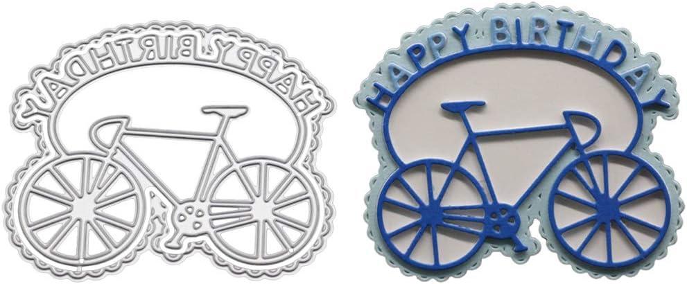 Plantillas de corte, diseño de bicicleta de cumpleaños con texto ...