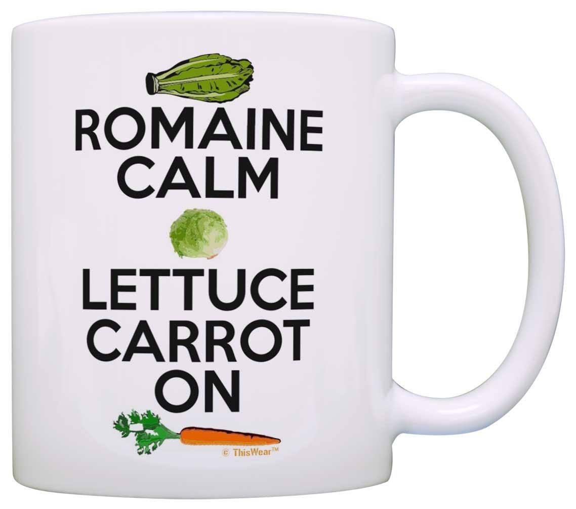 Cooking Gifts Romain Calm Lettuce Carrot On Keep Calm Vegan Gift Coffee Mug Tea Cup White