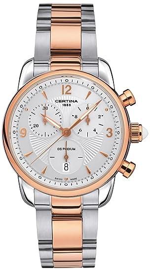 Certina - Reloj de cuarzo para mujer, correa de acero inoxidable color plateado: Amazon.es: Relojes