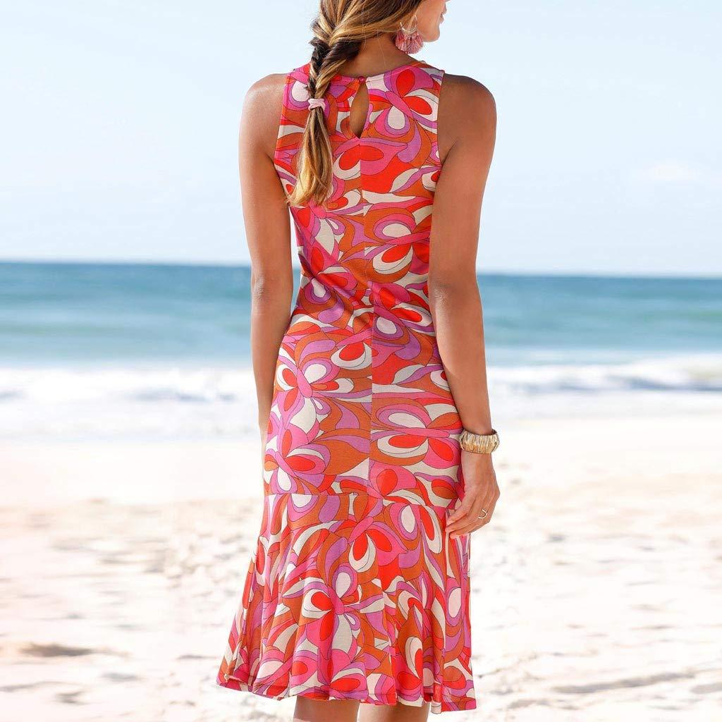 Poachers Vestidos Largos Verano Mujer Fiesta Vestidos Verano Mujer Tallas Grandes Vestidos de Fiesta Mujer Verano Vestido Playa Mujer//Cuello Redondo Estampado Chaleco Falda Larga Playa Falda