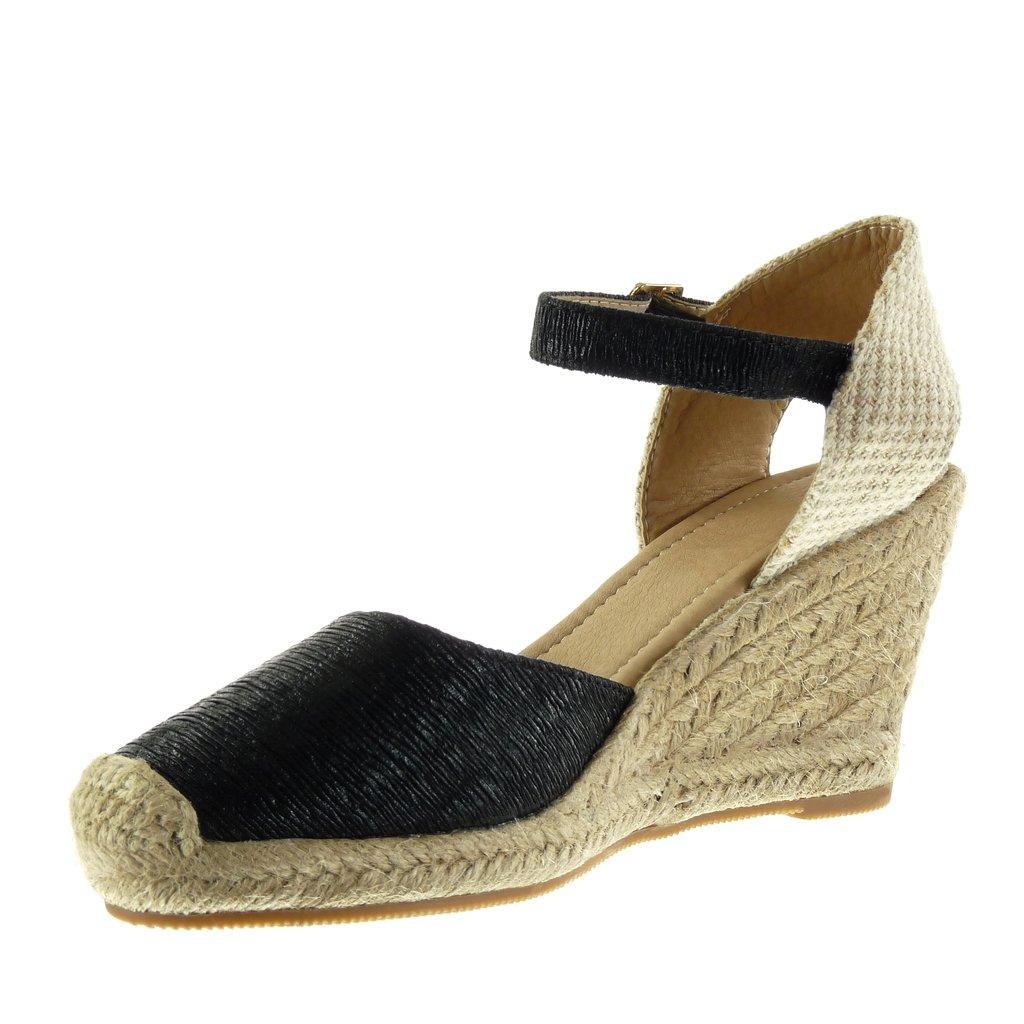 f5fb2c82709375 Angkorly - Chaussure Mode Sandale Espadrille ouverte femme brodé corde  brillant Talon compensé plateforme 9.5 CM - Noir - 98-1 T 40  Amazon.fr   Chaussures ...