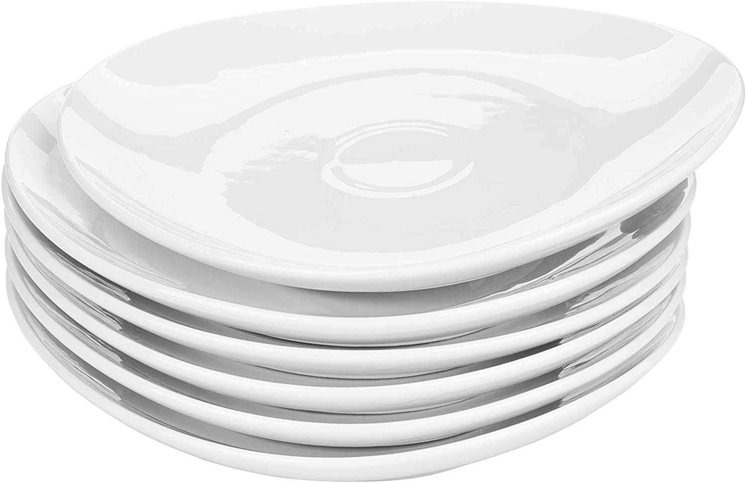 Yarlung 6 Pack 11 Inch Porcelain Dinner Plates, Oval White Salad Plate Kitchen Dinnerware Serving Dishes Set for Home, Restaurant, Party Use, Microwave and Dishwasher Safe