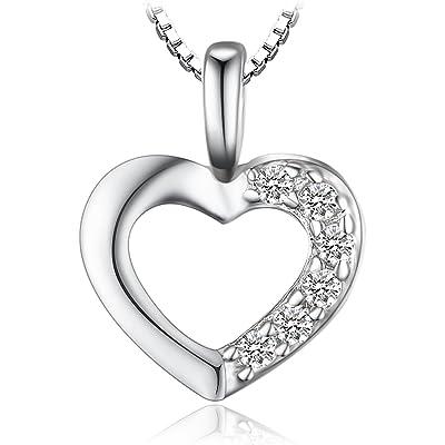 JewelryPalace Colgante Circonita en forma de Corazón Collar Plata de ley 925 cadena de caja 42cm