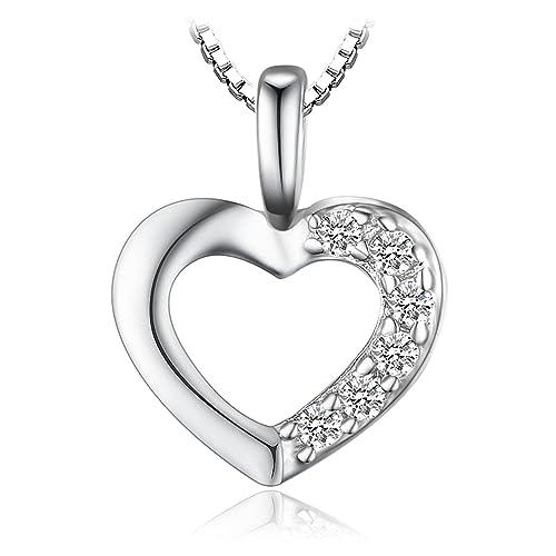 82aa1ad3ceae JewelryPalace 925 plata Colgante con circonita en forma de corazón   Amazon.es  Joyería