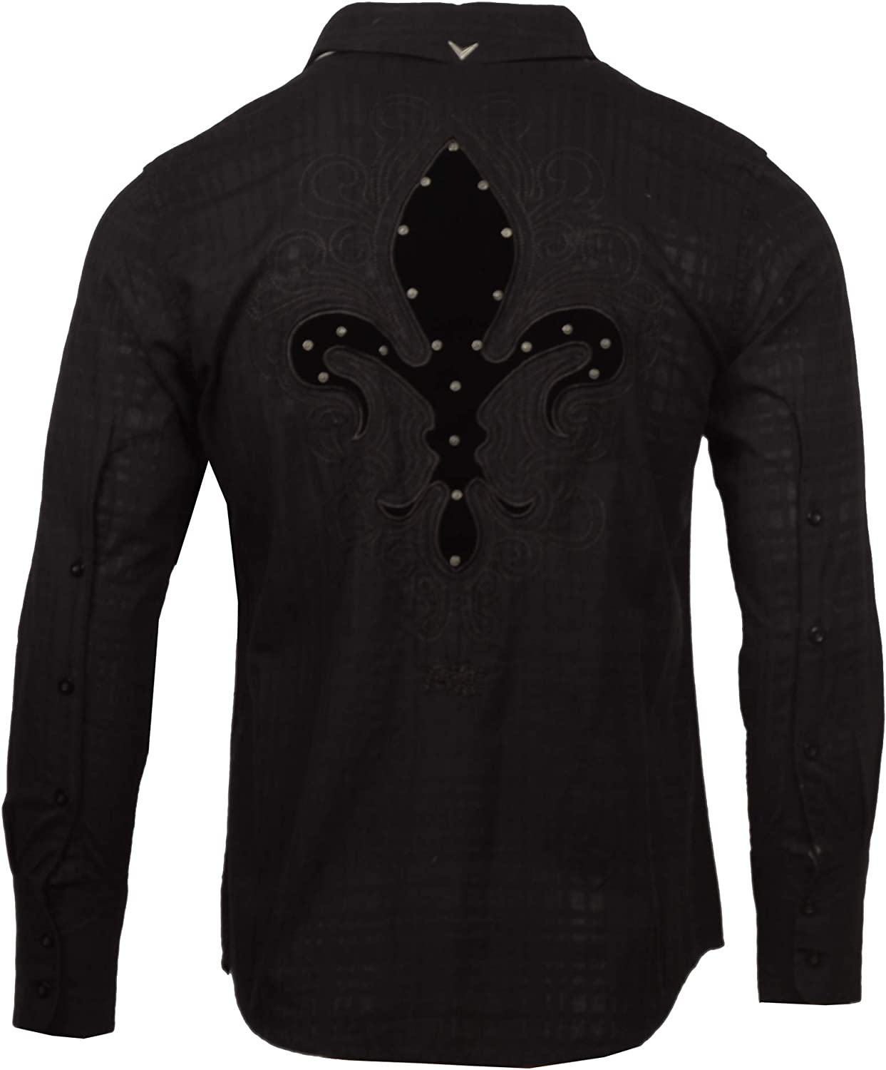 Mens Fleur de Lis Long Sleeve Custom Embroidered Shirt 128B