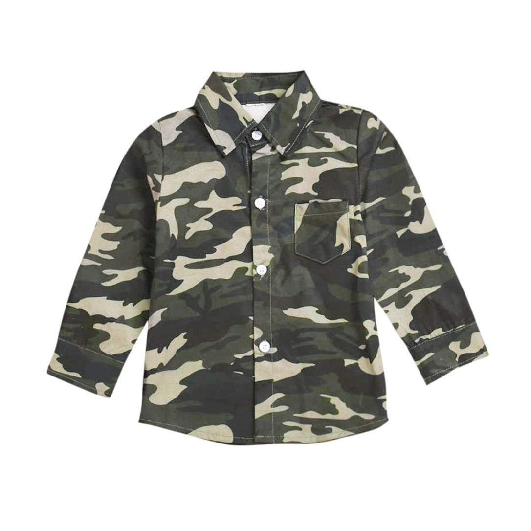 Clearance Sale! Baby Blouse for Boys Girls, Iuhan Children Kids Long Sleeves Top Shirt Boys Button Down Camouflage Blouse Pocket Clothing (5Years, Army Green) Iuhan ®
